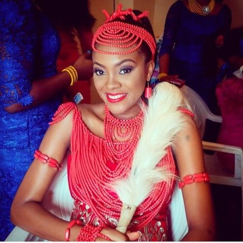 indegenous Nigerian bride with beautiful coral Beads