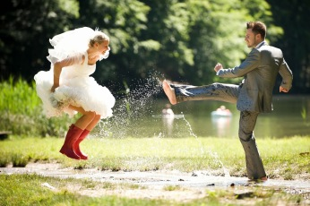 Rustic 4 Weddings Church House Woodworks Trash The Dress Splashing In Water Rainboots